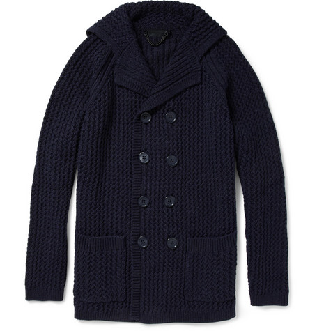Burberry Prorsum Waffle-Knit Double-Breasted Cardigan
