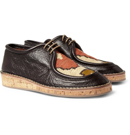 Burberry Prorsum Woven-Top Cork-Sole Leather Shoes