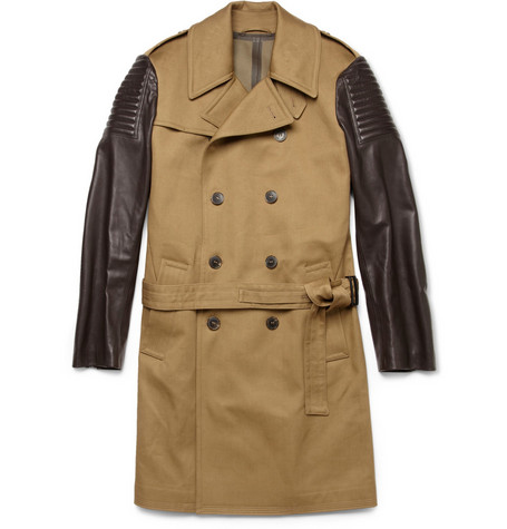 Simon Spurr Leather-Sleeved Trench Coat