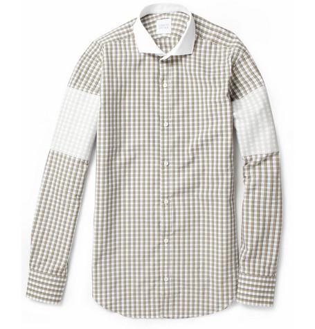 Simon Spurr Fused-Panel Checked Slim-Fit Cotton Shirt