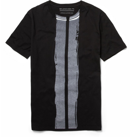 Balenciaga Brush Stroke-Print Cotton T-shirt