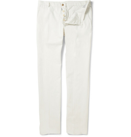 Maison Martin Margiela Straight Leg Cotton-Twill Trousers