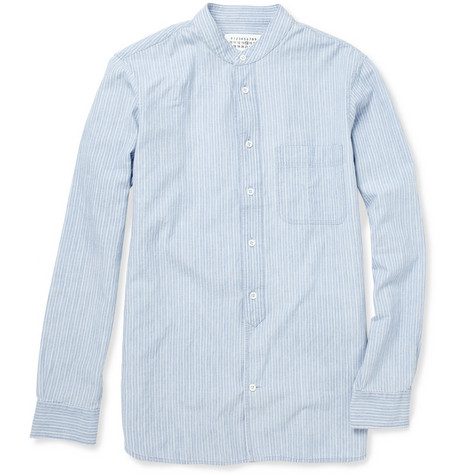 Maison Martin Margiela Striped Grandad-Collar Cotton Shirt