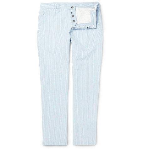 Maison Martin Margiela Striped Cotton-Chambray Trousers