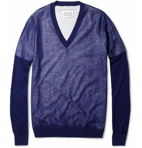 Maison Martin Margiela Layered Cotton V-Neck Sweater