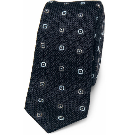Balenciaga Slim Patterned Woven-Silk Tie