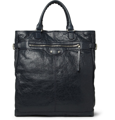 Balenciaga Hexagon Creased-Leather Tote Bag
