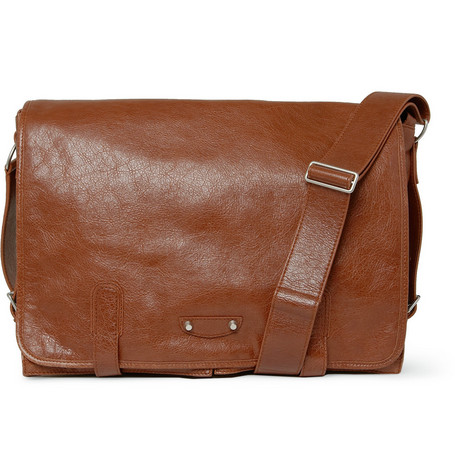 Balenciaga Wide Leather Messenger Bag