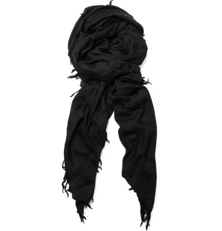 Balmain Embroidered Cotton and Silk-Blend Scarf