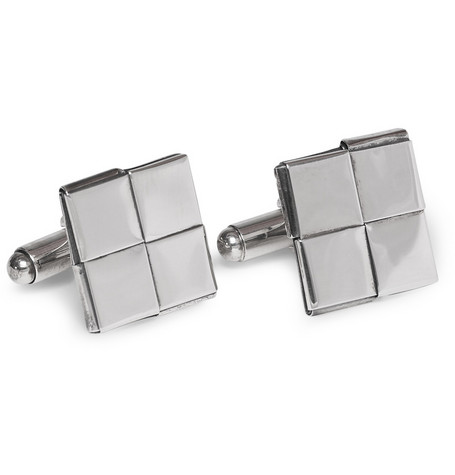 Bottega Veneta Intrecciato Antique-Silver Flat-Square Cufflinks