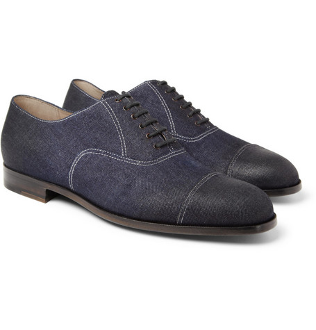 Bottega Veneta Oiled-Denim Oxford Shoes