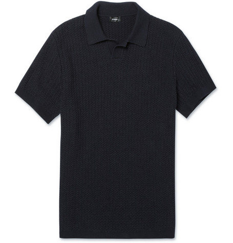 Jil Sander Knitted Cotton-Blend Polo Shirt