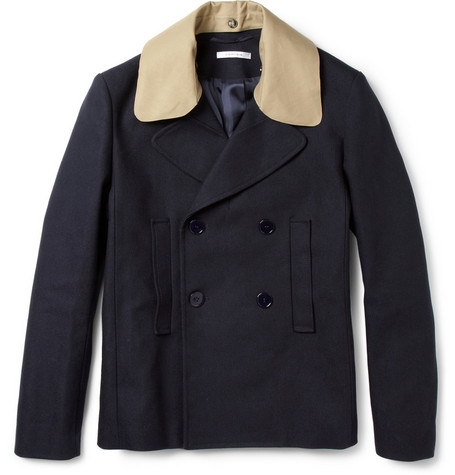 Carven Contrast-Collar Cotton-Blend Piqué Peacoat