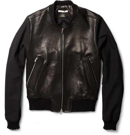 Carven Contrast-Sleeve Leather Bomber Jacket