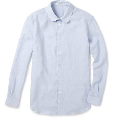 Carven Round Collar Striped Cotton Shirt