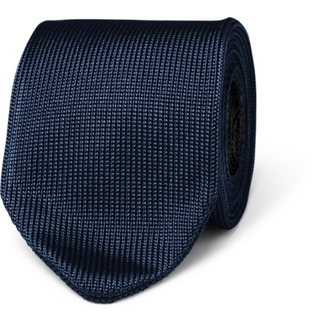 Carven Slim Two-Tone Knitted Silk Tie