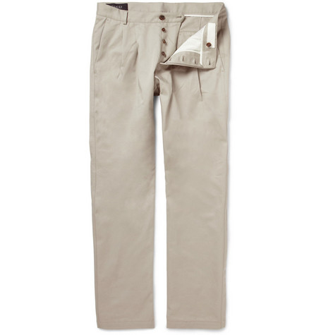Gucci Double-Pleat Cotton Chinos