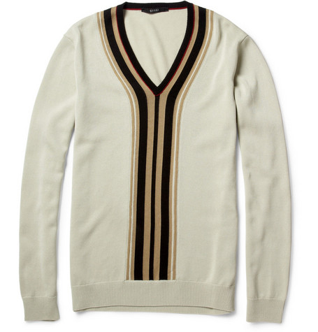 Gucci Striped Cotton-Blend V-Neck Sweater