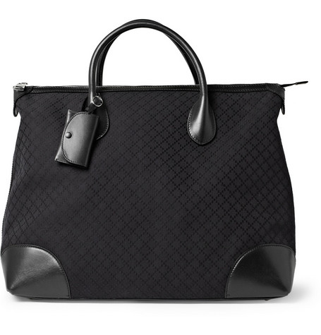 Gucci Leather and Diamond Canvas Tote