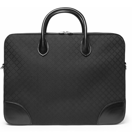 Gucci Diamond Canvas Leather-Trimmed Briefcase
