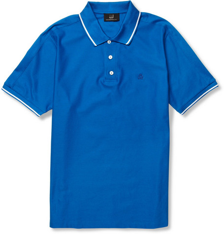 Alfred Dunhill Stripe-Trim Cotton-Piqué Polo Shirt