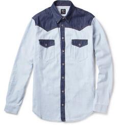 McQ Alexander McQueen Contrast-Panel Denim Western Shirt