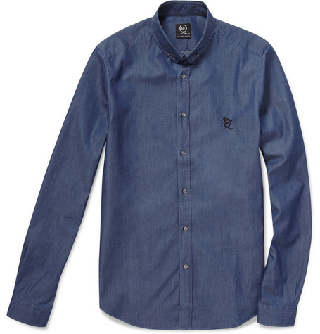 McQ Alexander McQueen Slim-Fit Safety-Pin Collar Denim Shirt