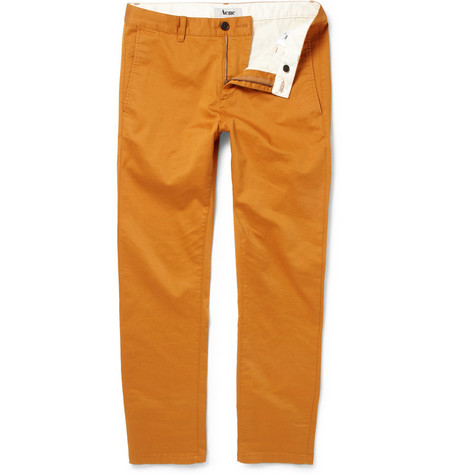 Acne Studios Roc Satin Slim Cotton-Blend Chinos