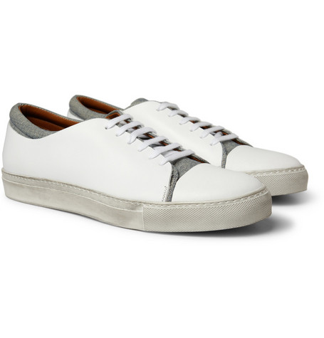 Acne Carlo Leather and Denim Sneakers