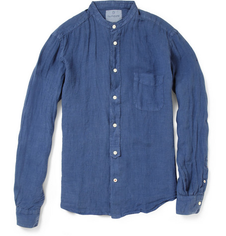 Hartford Grandad-Collar Linen Shirt