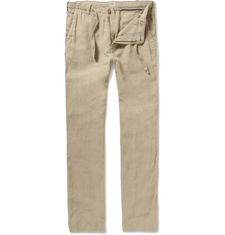Hartford Straight-Leg Linen Drawstring Trousers