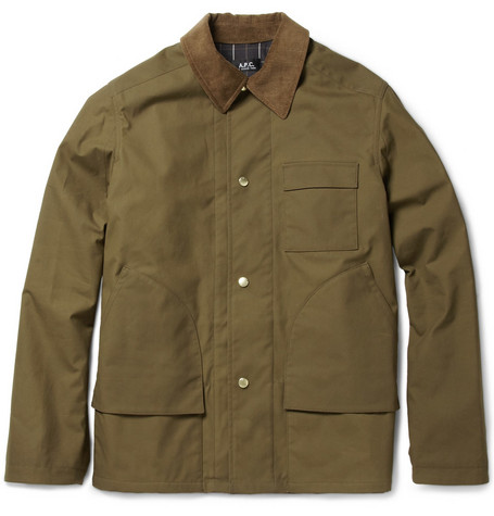A.P.C. Corduroy-Trimmed Waxed Cotton Jacket