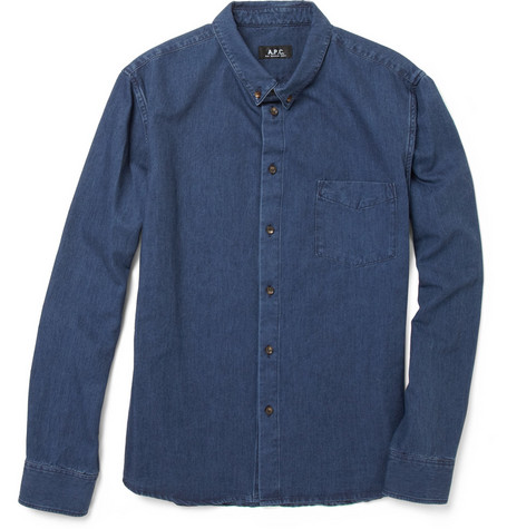 A.P.C. Washed Button-Down Collar Chambray Shirt