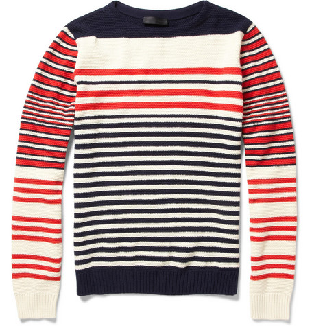 Alexander McQueen Striped Cotton and Cashmere Sweater