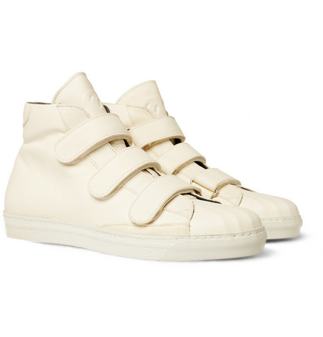 Alexander McQueen Velcro-Strap High Top Leather Sneakers
