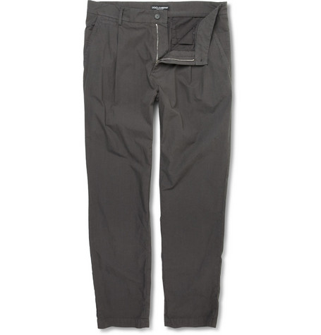 Dolce & Gabbana Pleated Washed-Cotton Trousers