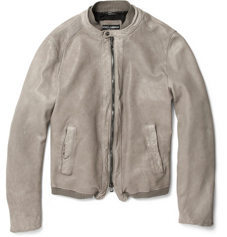 Dolce & Gabbana Ribbed-Trim Leather Jacket