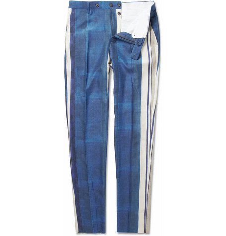 Lanvin Striped Straight-Leg Silk Trousers