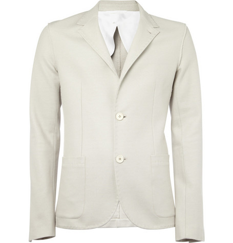 Lanvin Unstructured Raw-Seam Cotton-Piqué Blazer