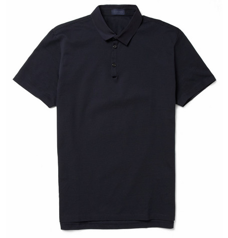 Lanvin Grosgrain-Collar Cotton-Piqué Polo Shirt
