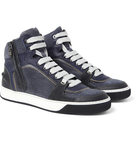 Lanvin Textured-Leather and Suede High Top Sneakers