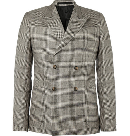 Ami Double-Breasted Prince of Wales Check Linen Blazer