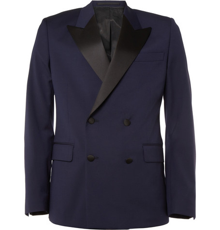 AMI Double-Breasted Wool Tuxedo Blazer