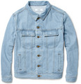 AMI Suede-Trimmed Stonewashed Denim Jacket