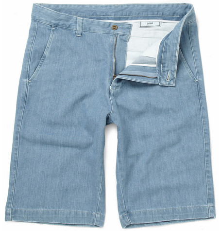 AMI Stonewashed Denim Shorts