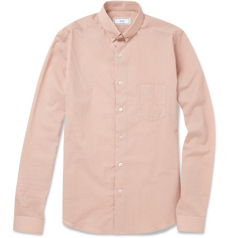 Ami Button-Down Collar Lightweight Cotton Shirt