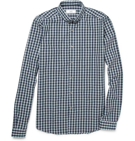 Ami Plaid Slim-Fit Cotton Shirt