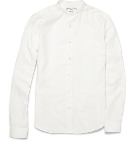 Ami Grandad-Collar Cotton and Linen-Blend Shirt