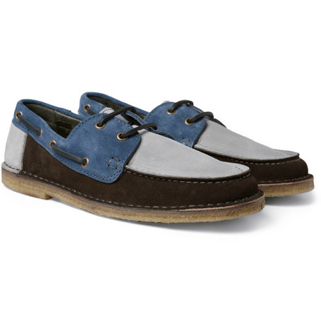 AMI Panelled Suede Boat Shoes