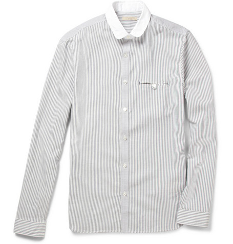 Burberry Brit Contrast Collar Striped Cotton Shirt